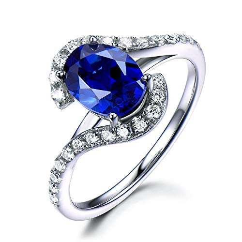 (Solid 14k White Gold Lab Created Blue Sapphire CZ Cubic Zirconia Diamond Engagement Ring Curved Band)