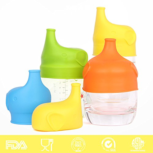 silicone-sippy-lids-turns-any-cup-into-a-sippy-spill-proof-cup-elegant-elephant-design-5-pack