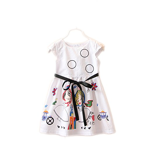 Perfectme Children Clothing Girls Summer Dress Kids Clothes 2018 Brand Baby Girl Dress with Sashes Robe Fille Character,Blue Dress,6