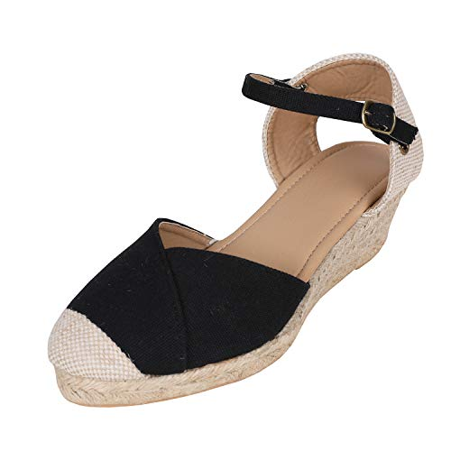 (Syktkmx Womens Espadrille Ankle Strap Wedge Closed Toe Platform Mid Heel D'Orsay Sandals)
