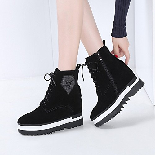 High Boots GTYW Incremento New Casual Leather cashmere Zapatos Invierno Wedges E Lace Heels Black Mujer De Martin Dentro Del Otoño Boots Mujer drnrCxHAwq