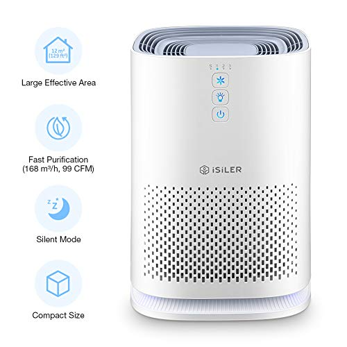 ISILER Air Purifier with True HEPA Filter, Portable Air Cleaner with 3 Speeds for Dust, Pollen, Pet Odors, Smoke, Odor Eliminator for Home or Office with Quiet Operation and Night Light, CADR-99 CFM