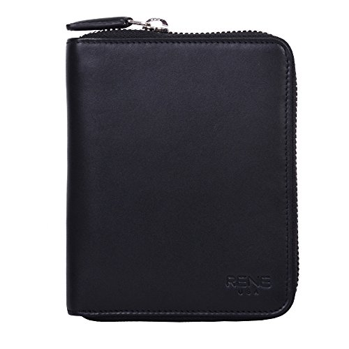 RENE USA Small Leather Zip Around Wallet (Black) (Small Leather Usa)