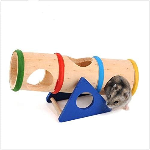 ペットのおもちゃ ハムスターのペットレインボー木製いぼチューブ玩具