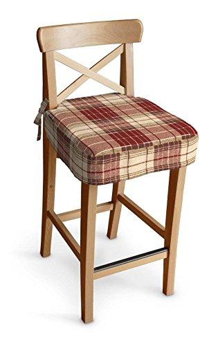 Dekoria Ikea Ingolf bar stool seat pad cover - burgundy & beige check