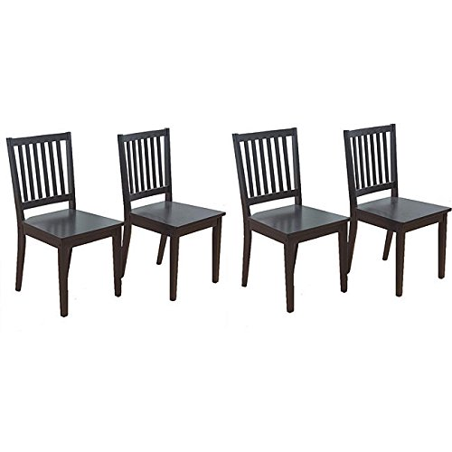 Metro Shop Slat Black Rubberwood Dining Chairs (Set of 4)