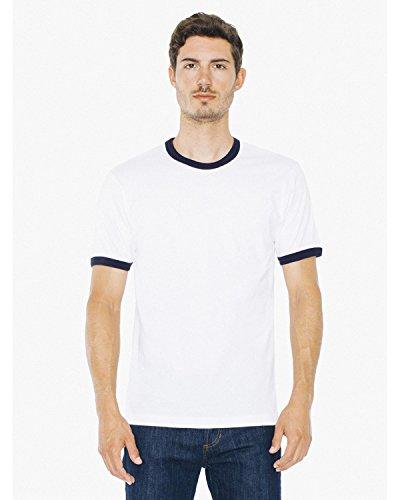 American Apparel 2410W Unisex Fine Jersey Ringer T-Shirt White/Navy 2XL
