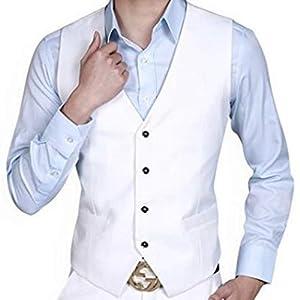 スーツ ベスト ジレ メンズ カジュアル ビジネス フォーマル F-grip (L, ホワイト)