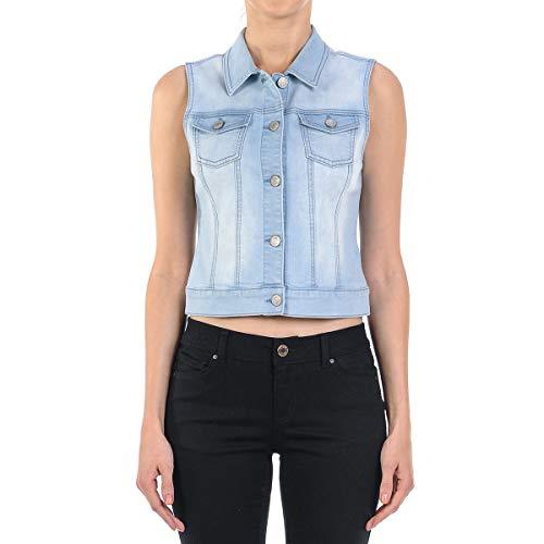 (Women's Junior Sleeveless Button Up Cropped Denim Vest Jacket in Light Blue Size L)