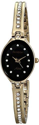 Armitron Women's 75/5243BKGP Swarovski Crystal-Accented Gold-Tone Bangle Watch