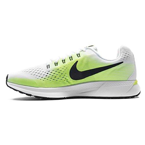 Price comparison product image Boys Nike Zoom Pegasus 34 (GS) Running Shoe (4 M US Big Kid, White/ Black-volt-ghost Green)