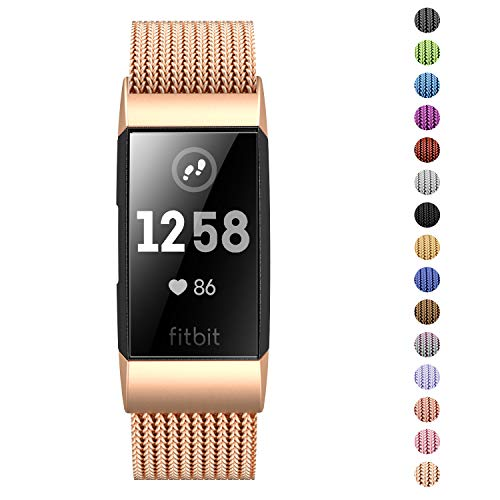Fitlink Stainless Steel Metal Replacement Bands for Fitbit Charge 3 and Charge 3 SE for Women Men,Multi Color Multi Size(Champagne,Small(5.5 - 8.5)