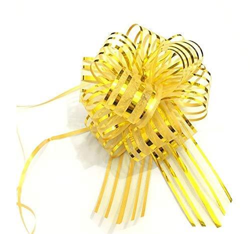 10 PCS Pull Bow,Organza,Large, 6 Inches,Wedding Decorations, Christmas Gift Ribbons, 10 pcs (Gold)