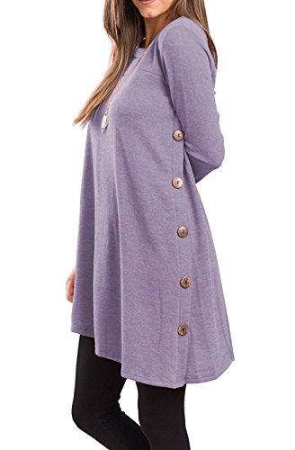 Fantastic Zone Women's Long Sleeve Casual Loose Scoop Neck Button Side Sweater Tunic Dress,Lavender,XX-Large ()
