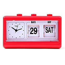 Lily's Home Vintage Inspired Flip Date/Day Quartz Alarm Clock, Red