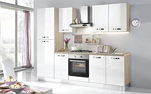 Cocina completa - Lado izquierdo cm. 255 x 60 x 216h - Incluye: campana extractora, horno ventilado, lavabo, frigorífico, frigorífico, placa de cocción a gas con 4 fuegos, n.° 6 y un cajón.: Amazon.es: Hogar