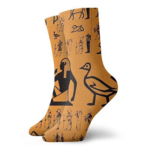 Basic Moisture Control Crew Socks for Teen Girls, Ancient Egypt Clipart Orange Non-Slid Mid Calf Work Crew Sock