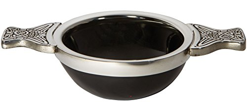 (iLuv 80mm Horn and Pewter Scottish Quaich Cup of Friendship Ideal Christening Gift )