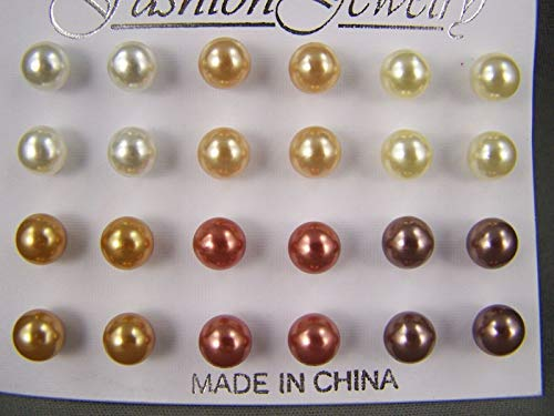 Faux Pearl stud earrings plastic set pack of 12 pair ball post 1/4 inch 7mm wide R-823 ()
