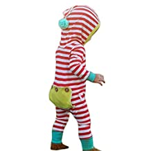 Baby Boys Girls 3D Cartton Christmas Striped Hooded Romper Jumpsuit Outfits