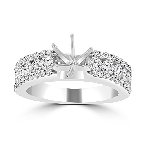 Diamond Ring Mounting - 1.09 ct Ladies Three Row Round Cut Diamond Semi Mounting Ring ( Color G Clarity SI-1 ) in Platinum In Size 7.5