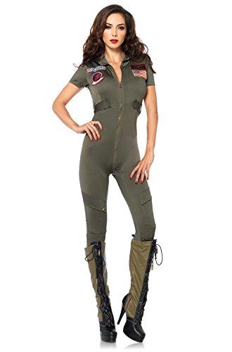 Leg Avenue Women's Top Gun Flight Suit Costume, Khaki, Large