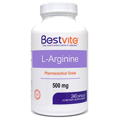 L-Arginine 500mg (240 Capsules) – No Stearates – No Fillers