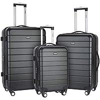 Wrangler 3-Piece Hardside Spinner Luggage Set with USB Port & Cup Holder