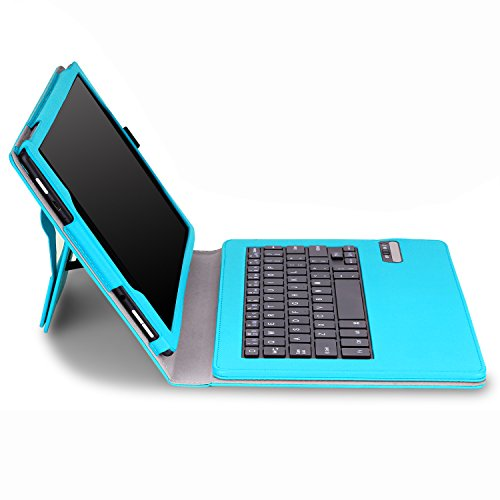 MoKo Keyboard Case for Fire HD 10 2015 - Wireless Bluetooth Keyboard Cover with Auto Wake / Sleep for Amazon Kindle Fire HD 10.1 Inch Display Tablet (2015 Release Only), Light BLUE (Kindle Keyboard Cover Light compare prices)