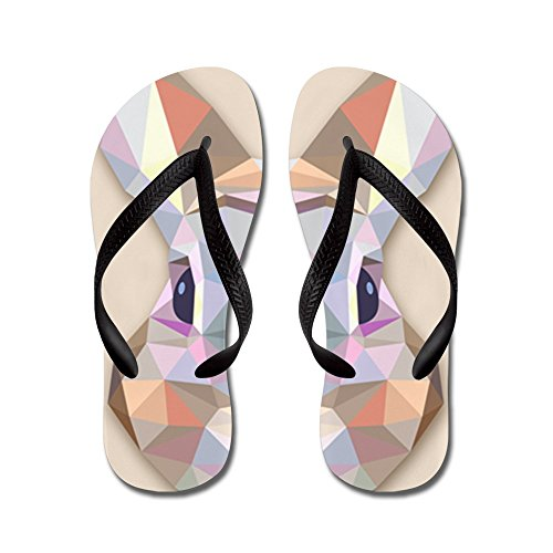 Price comparison product image Royal Lion Kid's Triangle Bunny Rabbit Black Rubber Flip Flops Sandals 9-11