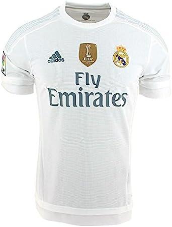 adidas 1ª Equipación Real Madrid CF 2015/2016 - Camiseta oficial con la insignia de campeón del mundo para hombre, color blanco, talla S: Amazon.es: Deportes y aire libre