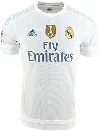 adidas 1ª Equipación Real Madrid CF 2015/2016 - Camiseta oficial con la insignia de campeón del mundo para hombre