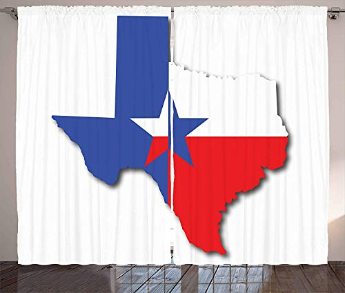 Texas Star Blackout Curtains, Outline of The Texas Map American Southwest Austin Houston City, Home Decoration Window Treatments Thermal Insulated Grommets Darkening Drapes, 2 Panel Set