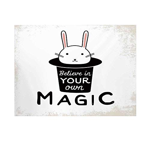 Magical Photography Background,Believe in Your Own Magic Quite Print with Cute Rabbit in Hat Motivational Print Backdrop for Studio,10x6ft