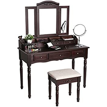 SONGMICS 7 Drawers Vanity Table Set with Tri-folding Mirror 6 Organizers Makeup Dressing Table with Cushioned Stool Brown URDT06Z