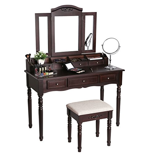 SONGMICS 7 Drawers Vanity Table Set with Tri-folding Mirror 6 Organizers Makeup Dressing Table with Cushioned Stool Brown URDT06Z (Stool For Table Vanity)