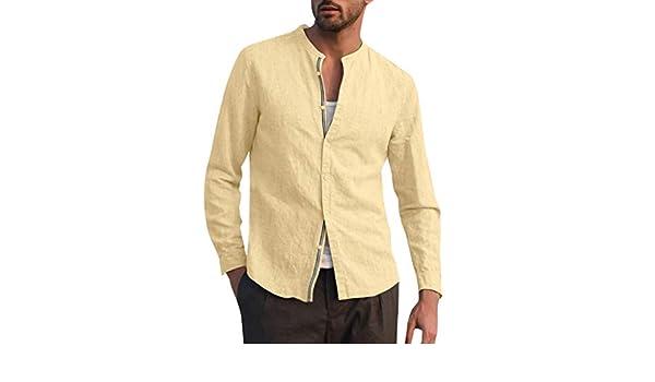 Camisa para hombre de lino de algodón con cuello en V, informal ...