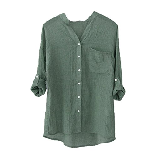 Match Shirt Pants - Auwer Women T-Shirt, Clearance Women Loose Cotton Linen Wrinkles Long Sleeve Shirt Casual Button Down Tops (2XL, Green)