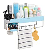 iHEBE Adhesive Bathroom Shelf Storage Organizer, Shower Caddy for Shampoo Combo, Conditioner, Makeup and Kitchen Rack with Towel Bar, Magnetic Soap Holder and Hanger Hooks (Blue)