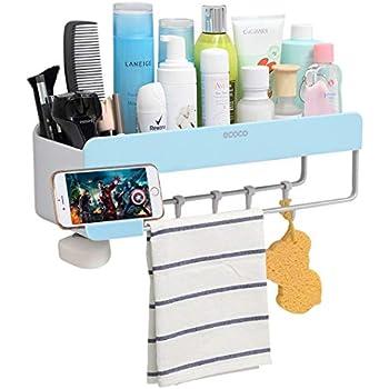 iHEBE Adhesive Bathroom Shelf Storage Organizer, Shower Caddy for ...