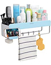 Bathroom Organizer Storage Adhesive Shelf, iHEBE Shower Caddy for Shampoo Combo, Conditioner, Makeup and Kitchen Rack with Towel Bar, Magnetic Soap Holder and Hanger Hooks