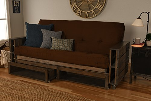 Kodiak Furniture KF Tacoma Full Futon in Rustic Walnut Finish with Storage Drawers, Suede Chocolate