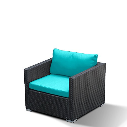 Modenzi D-U Arm Chair Outdoor Patio Furniture Espresso Brown Wicker (Turquoise) (Furniture Blue Light Wicker)