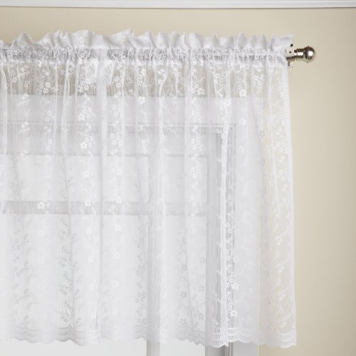 Valance Lace Curtain (Lorraine Home Fashions Priscilla 60-inch x 24-inch Tier Curtain Pair, White)