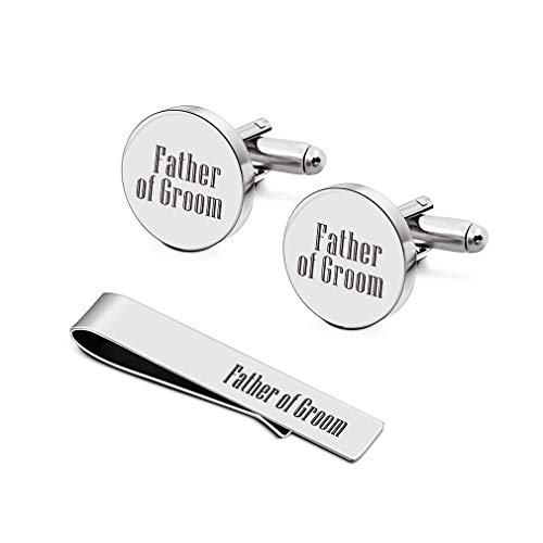 (Cufflinks, Father of The Groom Gifts for Dad Father Stepfather Mens Engraved Cufflinks Tie Clip Sets (Father Cufflinks Set 1))