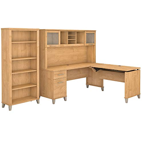 Bush Furniture Somerset 72W 3 Position Sit to Stand L Shaped Desk with Hutch and Bookcase in Maple Cross