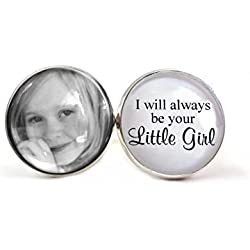 Men's Silver Plated Custom Photo Cuff Links I Will Always Be Your Little Girl Personalized with Your Own Photo (White)