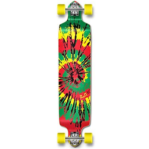 Yocaher Professional Speed Drop Down Complete Longboard Skateboard (Tiedye Rasta)