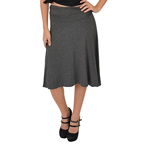 Stretch is Comfort Women's Knee Length Flowy Skirt Charcoal Gray Small ()
