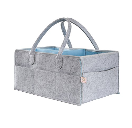 Lily and Oliver Baby Diaper Caddy and Portable Nursery Organizer (Large) Gender Neutral Bag for Infants, Babies, Toddlers   8 Pockets, Adjustable Divider   Boys, Girls by Lily + Oliver